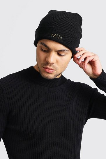 Black Smaller Embroidered MAN Beanie