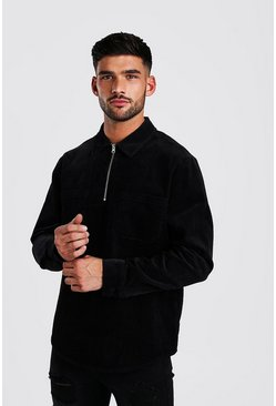 Black Half Zip Cord Shirt