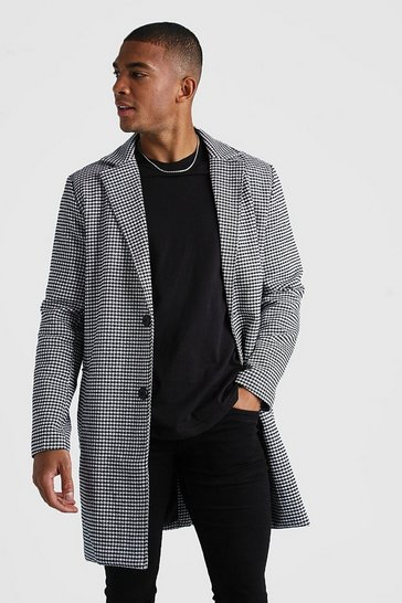 Black Dogtooth Wool Look Overcoat