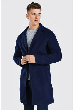 Navy Summer Wool Look Overcoat