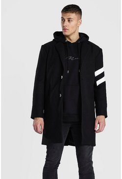 Black Wool Look Overcoat With Stripe Panel