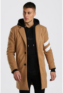 Camel Wool Look Overcoats With Stripe Panel