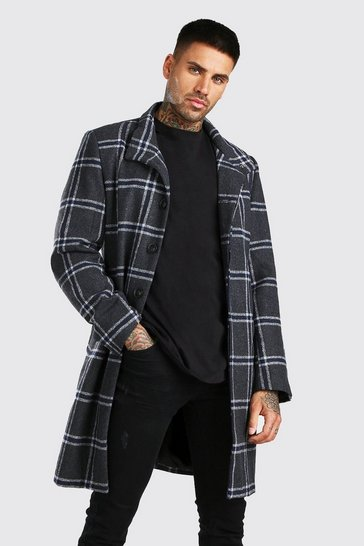 Charcoal Check Funnel Neck Wool Look Overcoat