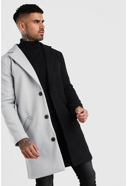 Black Half/Half Wool Look Overcoat