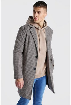 Brown Wool Look Check Overcoat