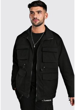 Black 4 Pocket Utility Zip Through Cotton Jacket