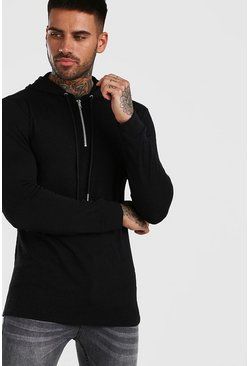 Black Basic Knitted Over The Head Hoodie