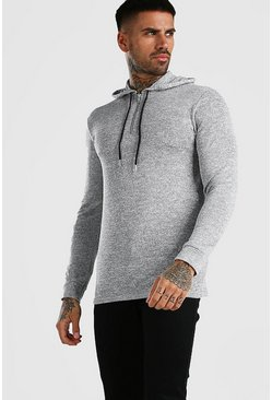 Grey Basic Knitted Over The Head Hoodie