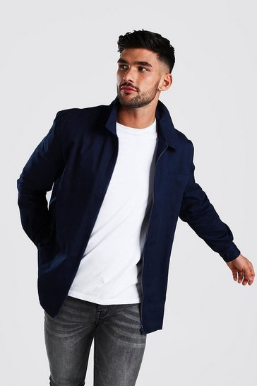 Navy Long Sleeve Zip Through Smart Overshirt
