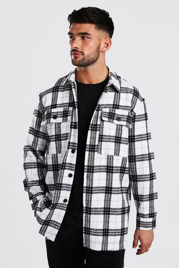 White Long Sleeve Oversized Check Shirt with Back Print