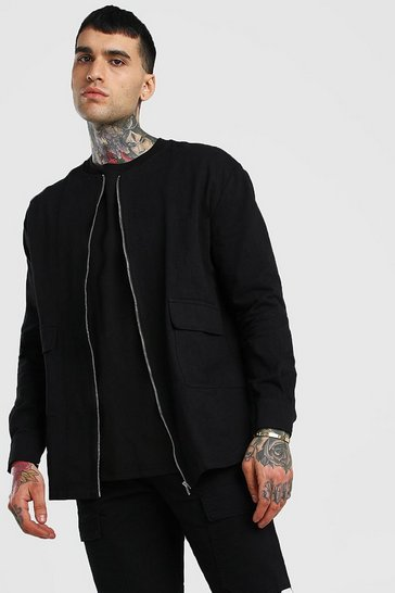 Black Long Sleeve Collarless Overshirt