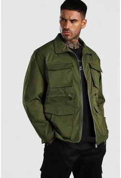 Khaki 4 Pocket Utility Zip Through Cotton Jacket