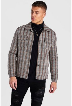Brown Check 2 Pocket Bomber Wool Look