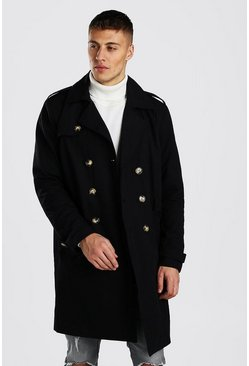Black Double Breasted Long Trench