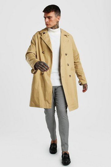 Stone Double Breasted Trench With Contrast Panel