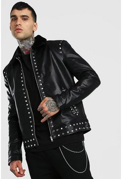 Black Borg Collar Studded Leather Look Jacket