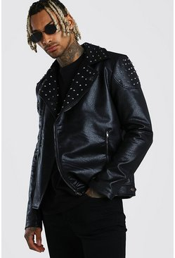 Black Studded Biker Jacket Leather Look