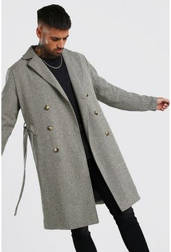 Camel Overcoat Double Breasted With Belt