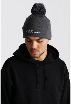 Mens Grey MAN Script Bobble Beanie