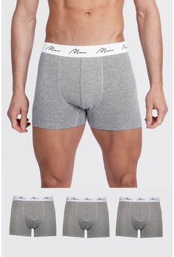 Grey marl 3 Pack MAN Script Mixed Trunk