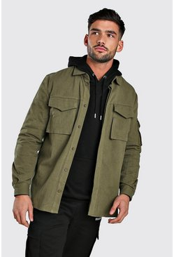 Khaki Long Sleeve Utility Pocket Overshirt
