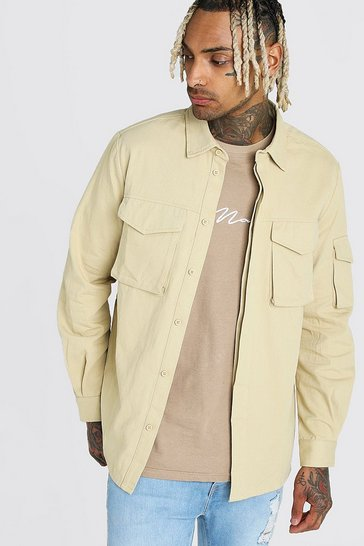 Stone Long Sleeve Utility Pocket Overshirt