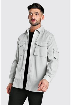 Grey Long Sleeve Utility Pocket Overshirt