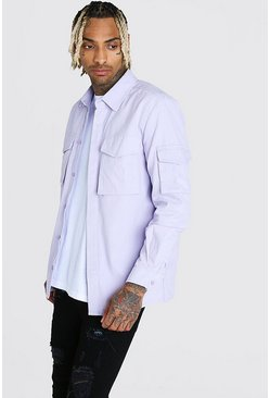 Lilac Long Sleeve Utility Pocket Overshirt