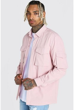 Pink Long Sleeve Utility Pocket Overshirt