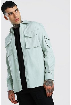 Mint Long Sleeve Utility Pocket Overshirt