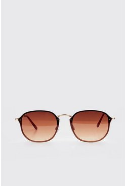 Brown Frameless Rounded Sunglasses