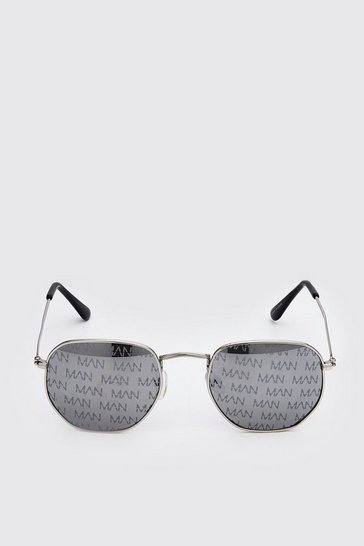 Black MAN Print Hexagon Sunglasses