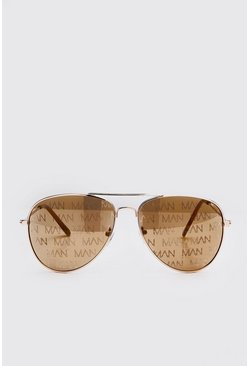 Brown MAN Print Aviator