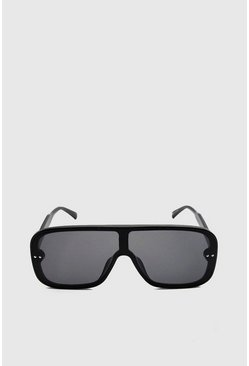 Black Smooth Lens Oversized Aviator