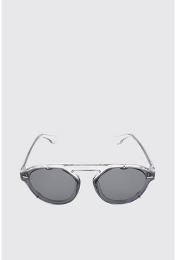 Grey Clip Detail Sunglasses