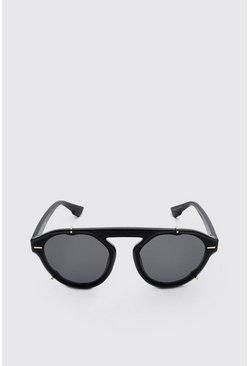 Black Clip Detail Sunglasses