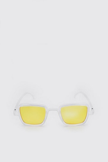 Yellow Square Frosted Festival Sunglasses