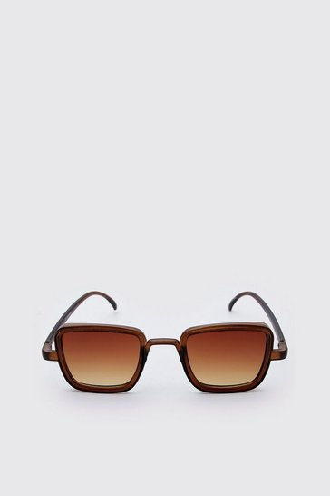 Brown Square Frosted Festival Sunglasses