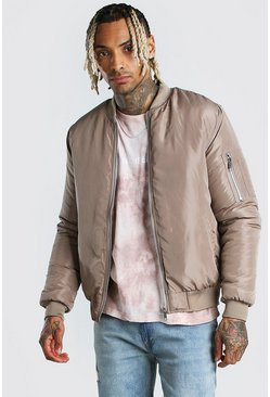 Stone Padded Bomber With Zip Pocket Sleeve