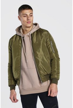 Light khaki Padded Bomber With Zip Pocket Sleeve