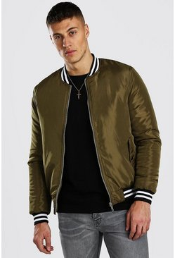 Khaki Padded Bomber With Contrast Rib