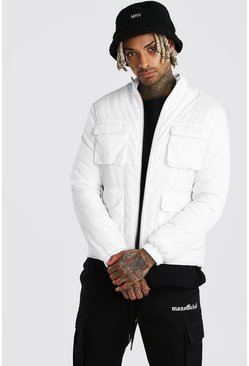 White 4 Pocket Padded Funnel Neck Jacket
