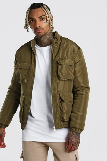 Khaki 4 Pocket Padded Funnel Neck Jacket