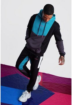 Teal Man Official Hooded Tracksuit With Colour Block