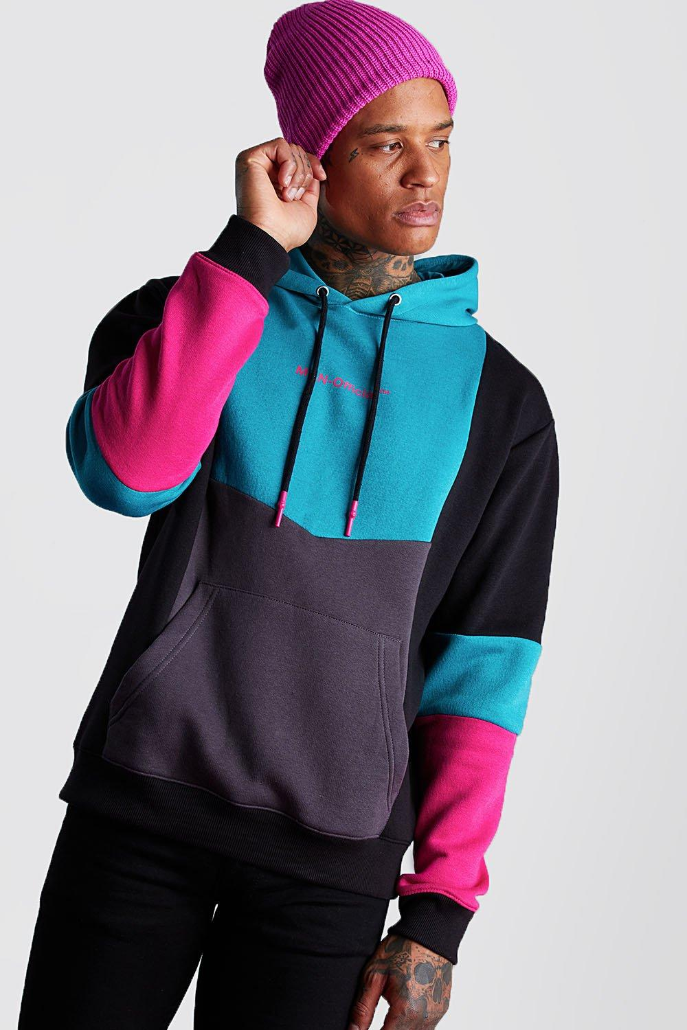 Men's Vintage Sweaters, Retro Jumpers 1920s to 1980s Mens Man Official Colour Block Hoodie - Green $32.00 AT vintagedancer.com