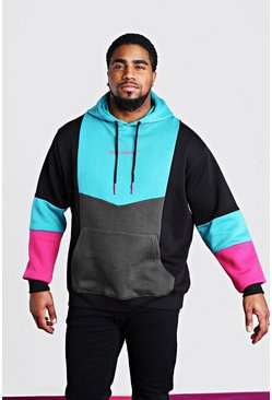 Teal Big And Tall Man Official Colour Block Hoodie