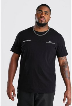 Camiseta Big & Tall con estampado MAN Official, Negro