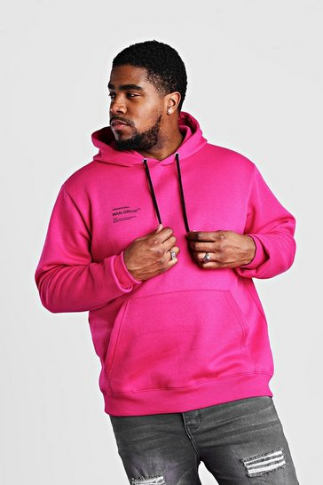 Pink Big And Tall MAN Official Printed Hoodie