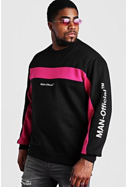 Black Big And Tall Man Official Printed Sweater