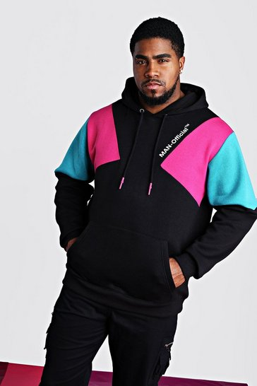 Black Big And Tall Man Official Printed Hoodie